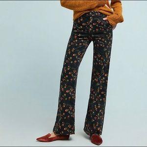 PILCRO ANTHRO FLORAL CORDUROY WIDE LEG PANTS